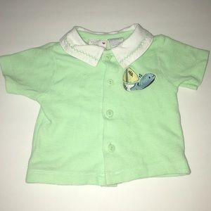 Vintage Tiny Tots green polo w/ sailboat whale